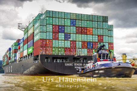 Panama Canal container ships Stock Photo